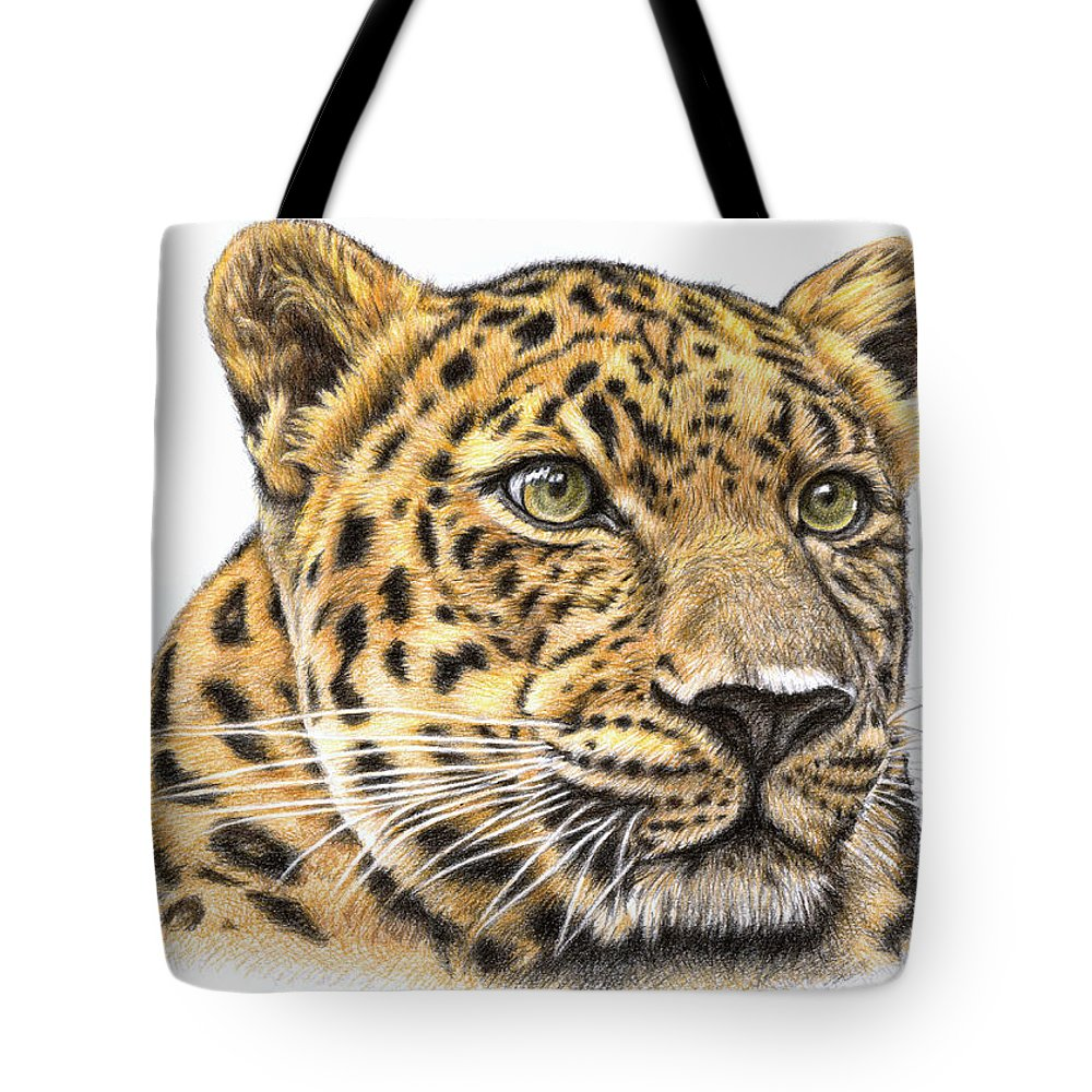 Leopard Tote Bag featuring the drawing Leopard by Nicole Zeug