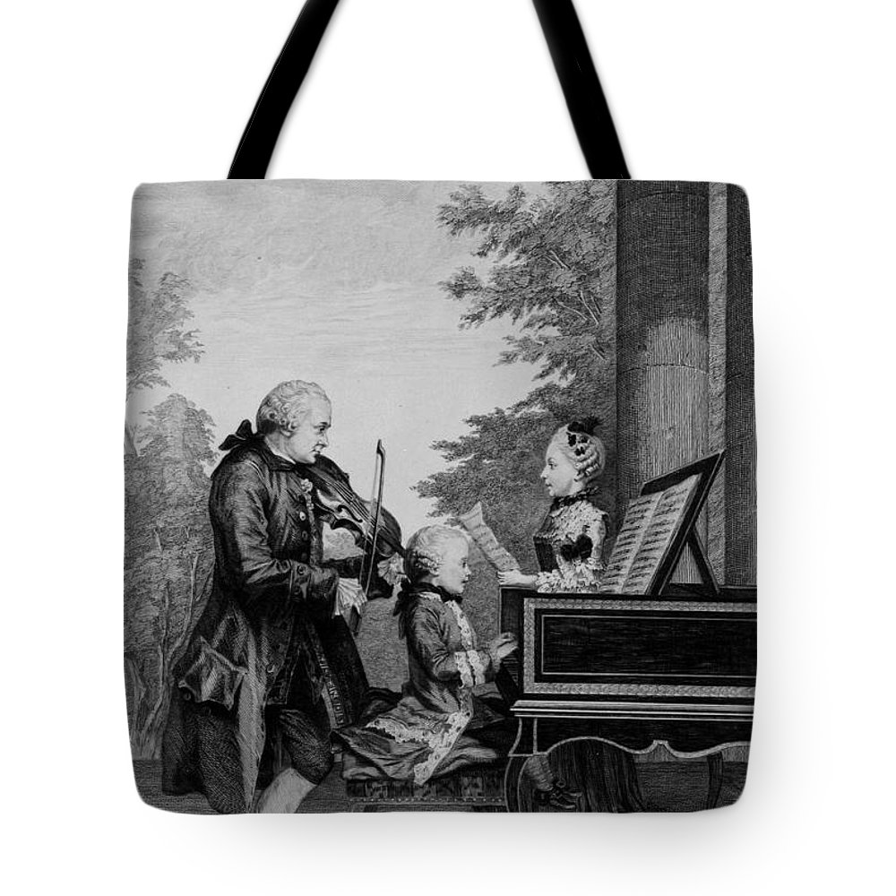 Family Tote Bag featuring the drawing Leopold Mozart And His Two Children by Louis Carrogis Carmontelle