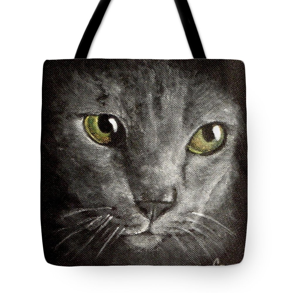 Russian Blue Cat Extreme Close Up Of Cat Tote Bag featuring the painting Leroy by Carol Russell
