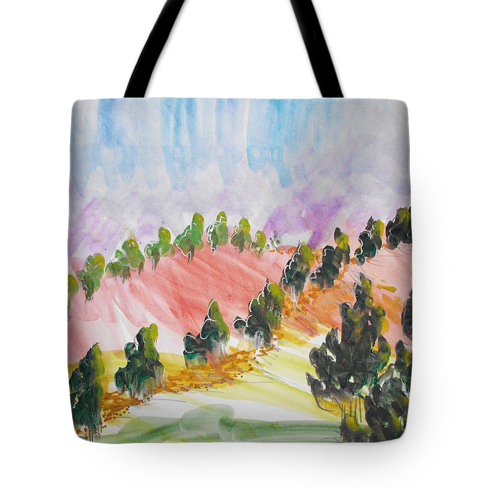 Landscape Tote Bag featuring the painting Les Chypres by Catherine Sprague