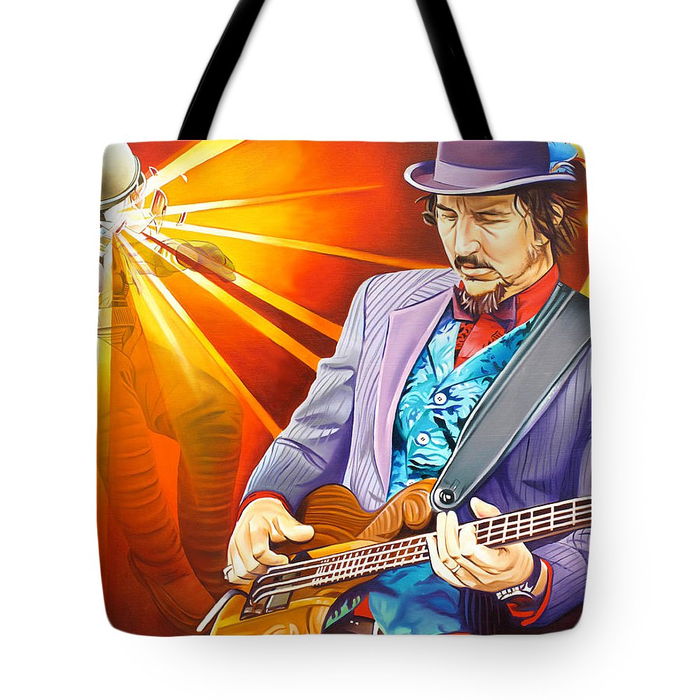 Les Claypool Tote Bag featuring the painting Les Claypool's-sonic Boom by Joshua Morton