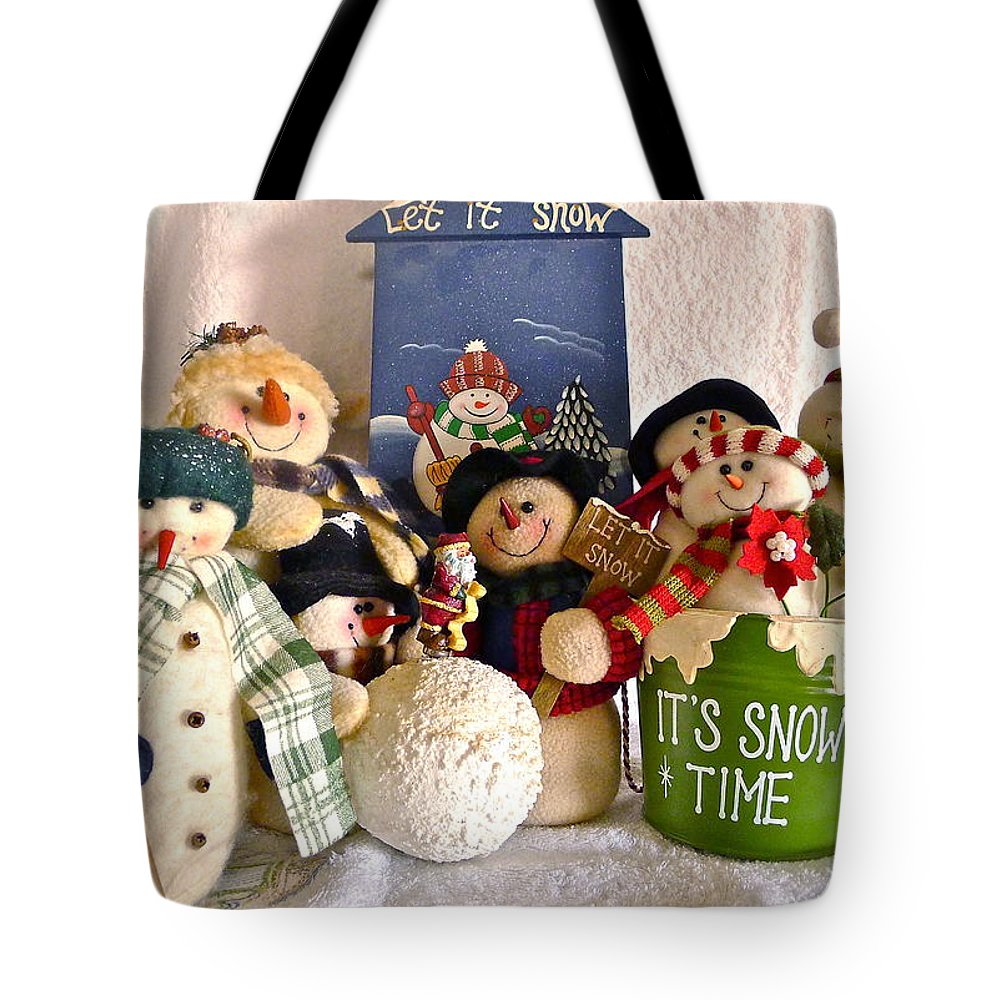 Snowman Tote Bag featuring the photograph Let It Snow by Denise Mazzocco