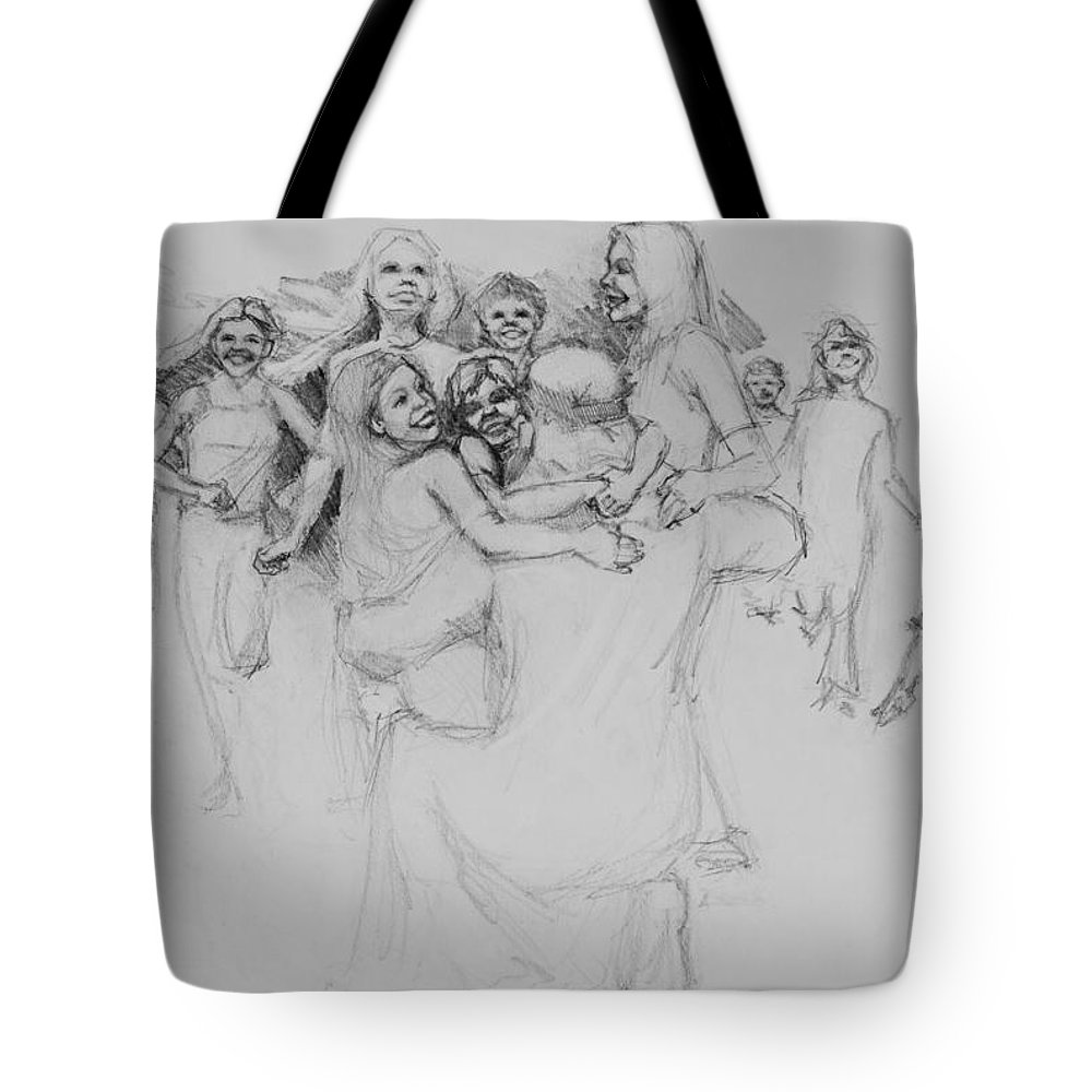 Jesus Tote Bag featuring the drawing Let The Children Come by Jani Freimann