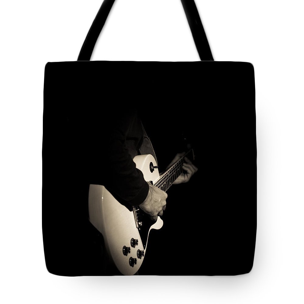 Monochrome Tote Bag featuring the photograph Let The Guitar Do The Talking by Alex Lapidus