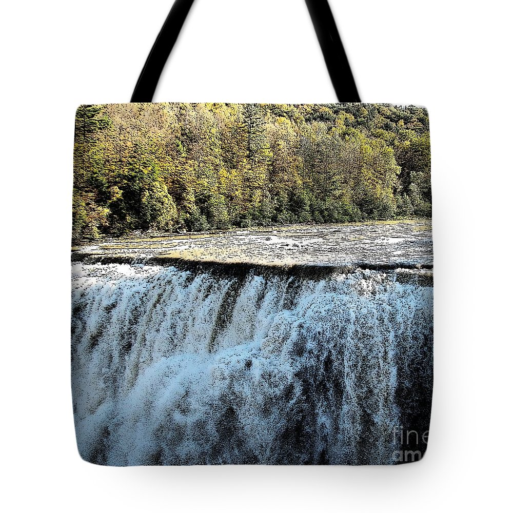 Letchworth State Park Tote Bag featuring the photograph Letchworth State Park Middle Falls In Autumn by Rose Santuci-Sofranko