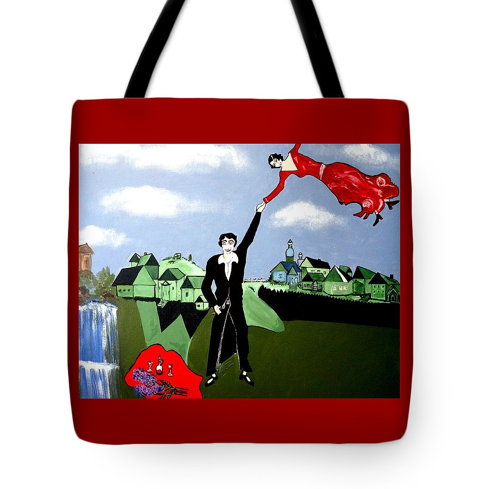 Let's Fly Away Tote Bag featuring the painting Lets Fly Away by Nora Shepley