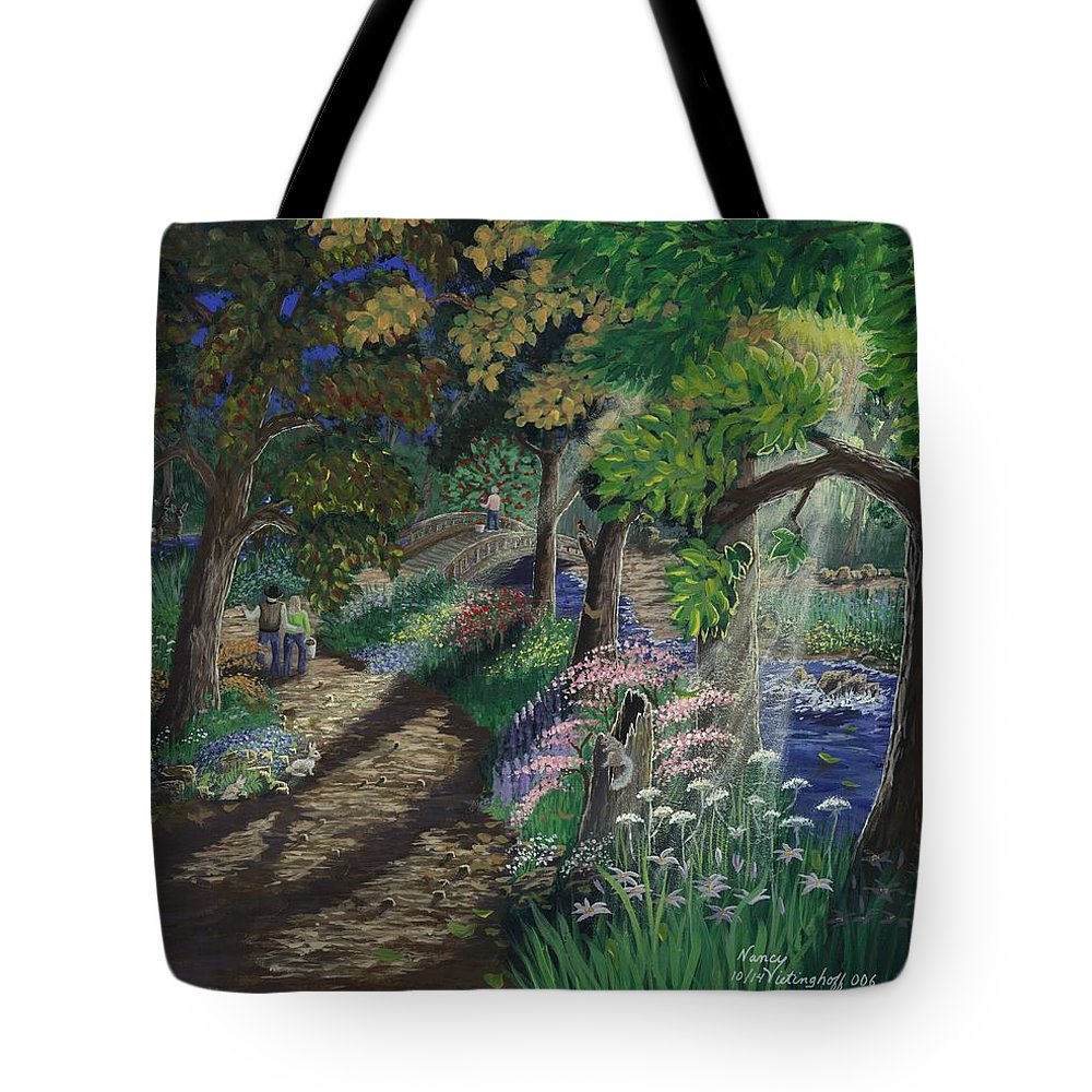 Woods Tote Bag featuring the painting Let's Meet At The Old Apple Tree by Nancy Vietinghoff