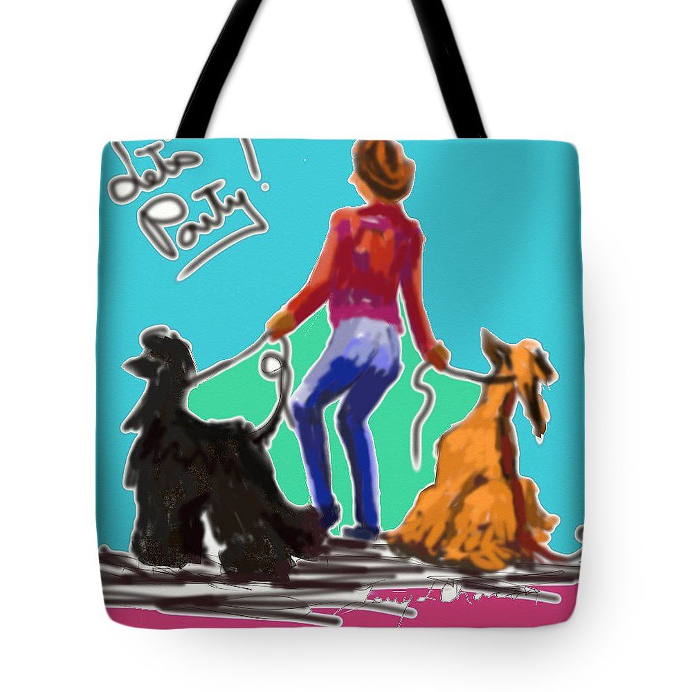 Ipad Finger Painting Tote Bag featuring the painting Lets Party by Terry Chacon