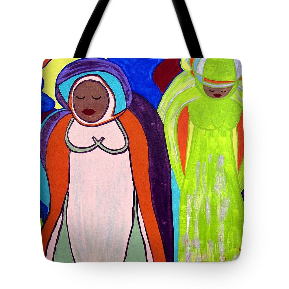 Let's Pray Tote Bag featuring the painting Let's Pray by Clarissa Burton