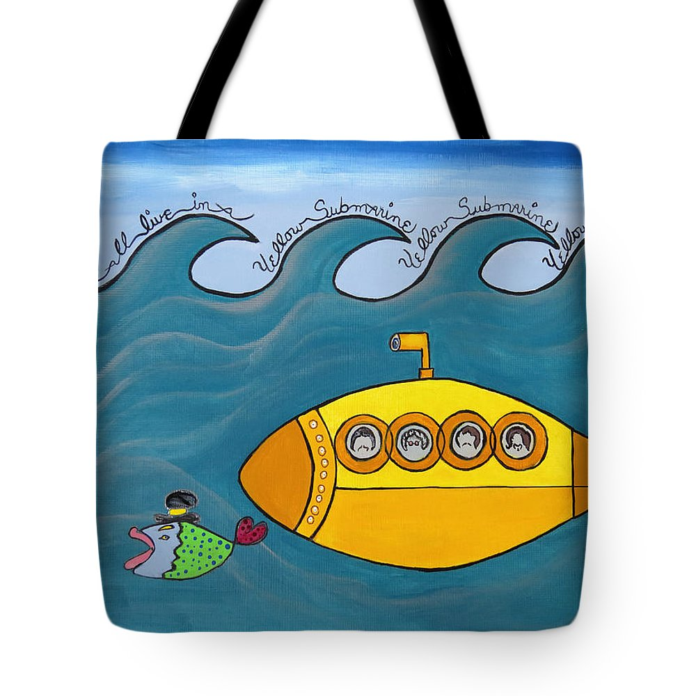 The Beatles Tote Bag featuring the painting Lets Sing The Chorus Now - the Beatles Yellow Submarine by Ella Kaye Dickey