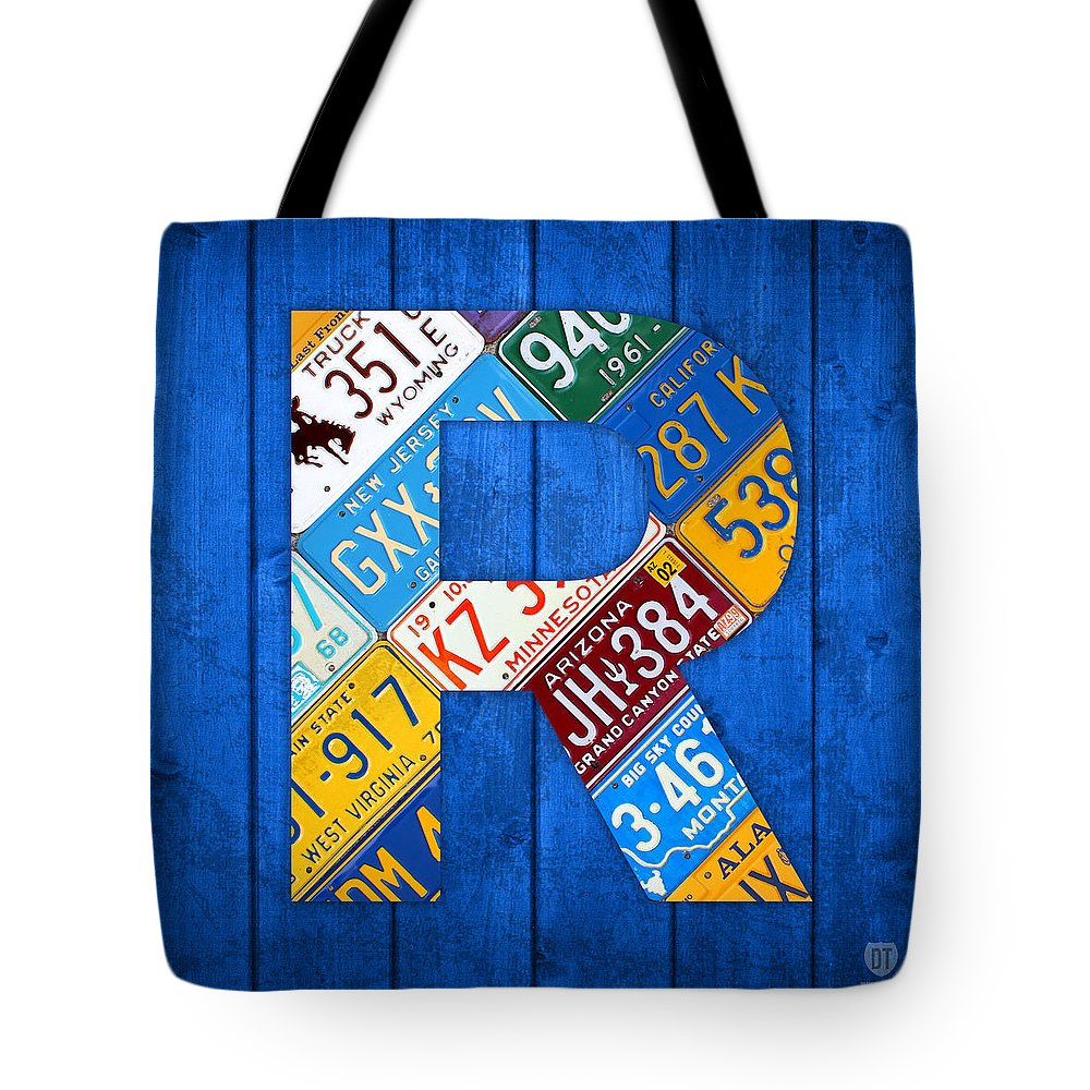 Letter Tote Bag featuring the mixed media Letter R Alphabet Vintage License Plate Art by Design Turnpike
