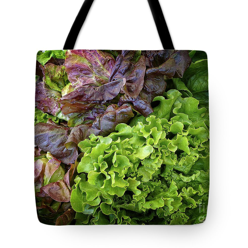 Lettuce Tote Bag featuring the digital art Lettuce Medley by Dee Flouton