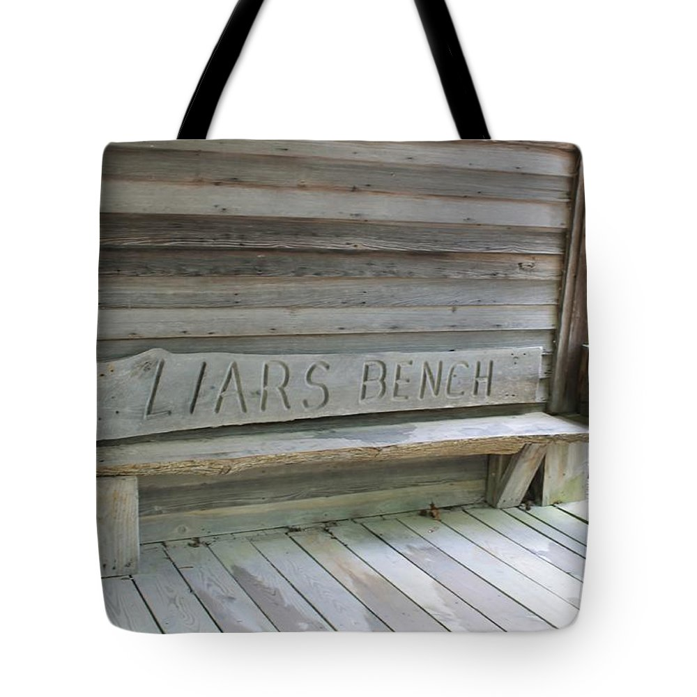 Liars Tote Bag featuring the photograph Liars Bench by Mary Koval