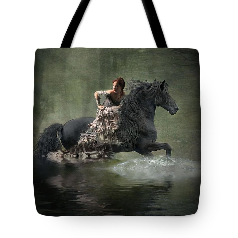 Girl Fleeing On Horse Tote Bag featuring the photograph Liberated by Fran J Scott