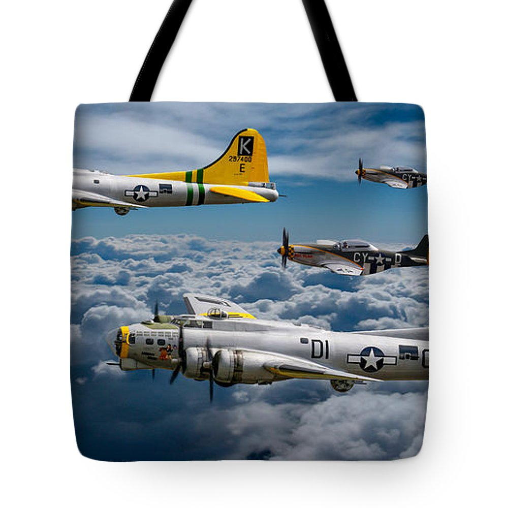 B17 Tote Bag featuring the photograph Liberty Belle And Fuddy Duddy With Mustangs by Ken Brannen