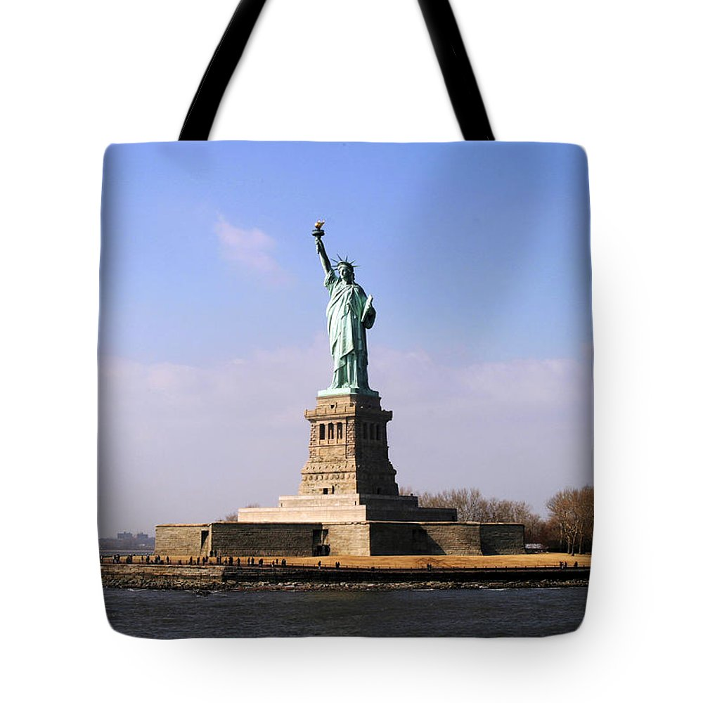 New York Tote Bag featuring the photograph Liberty Island by Christopher Rees