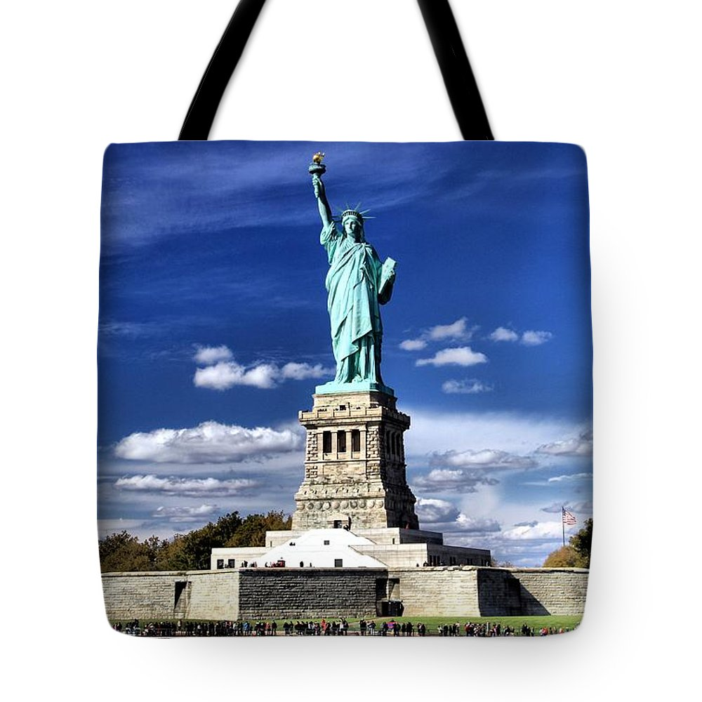 Statue Of Liberty Tote Bag featuring the photograph Liberty Island by Dan Sproul