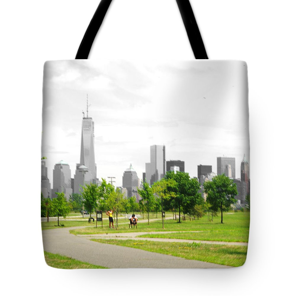 Liberty Tote Bag featuring the photograph Liberty Park by Larry Jost