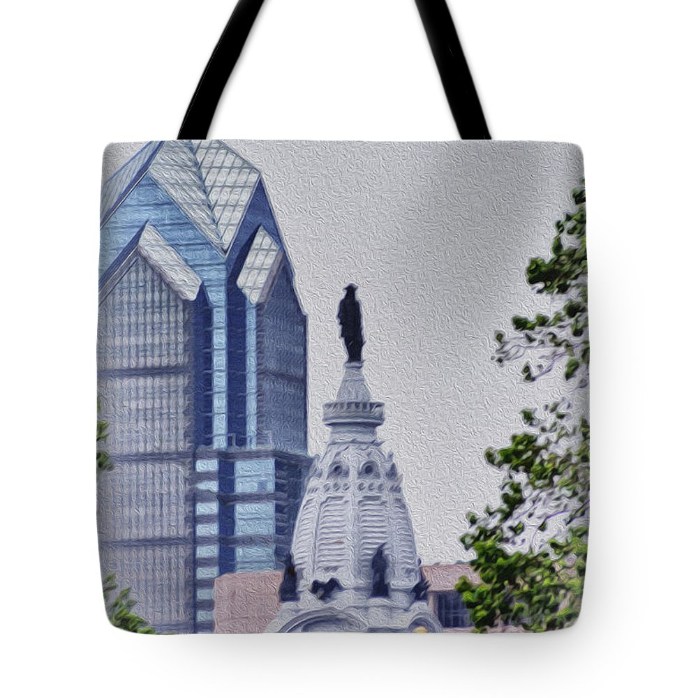 Liberty Tote Bag featuring the photograph Liberty Place And City Hall by Bill Cannon