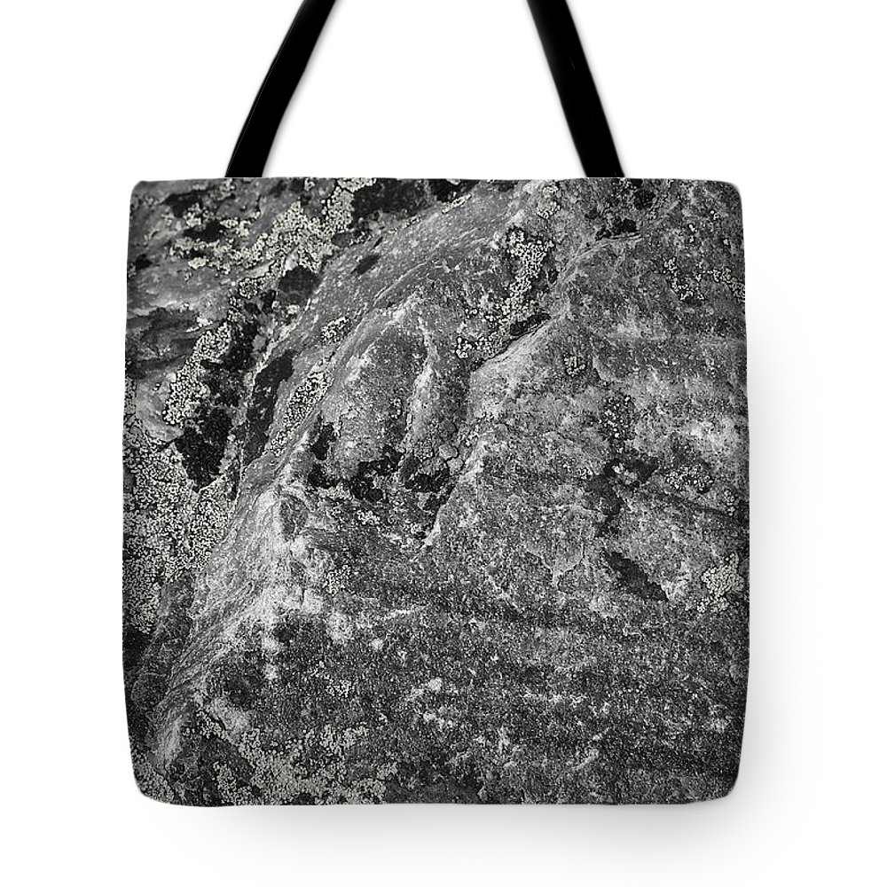 Rock Tote Bag featuring the photograph Lichen On The Whistlers - Black And White by Stuart Litoff