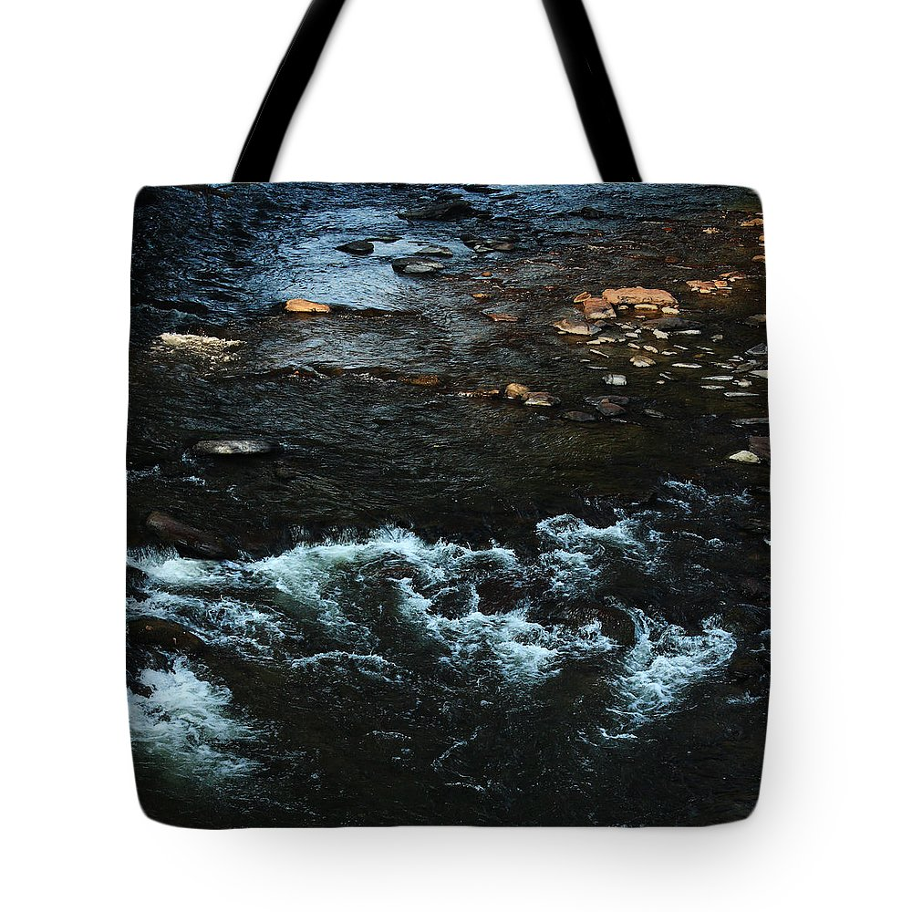White Riffles On Stream Tote Bag featuring the photograph Lick Creek by Jim Cotton