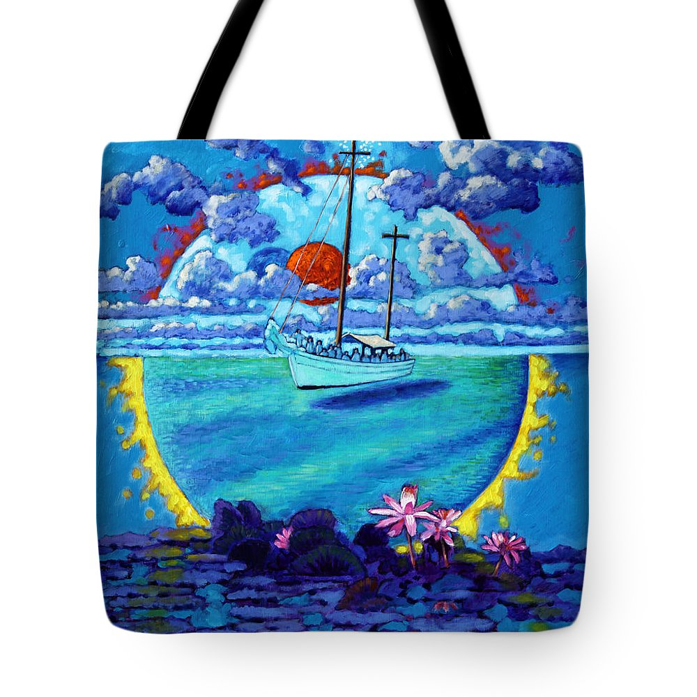 Sail Boat Tote Bag featuring the painting Life Boat by John Lautermilch