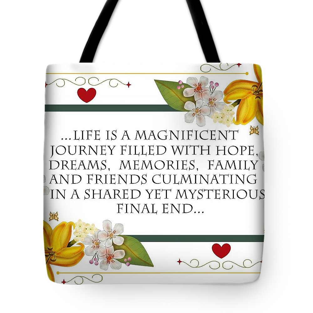 Digital Poster Tote Bag featuring the painting Life Is A Magnificent Journey by Anne Norskog