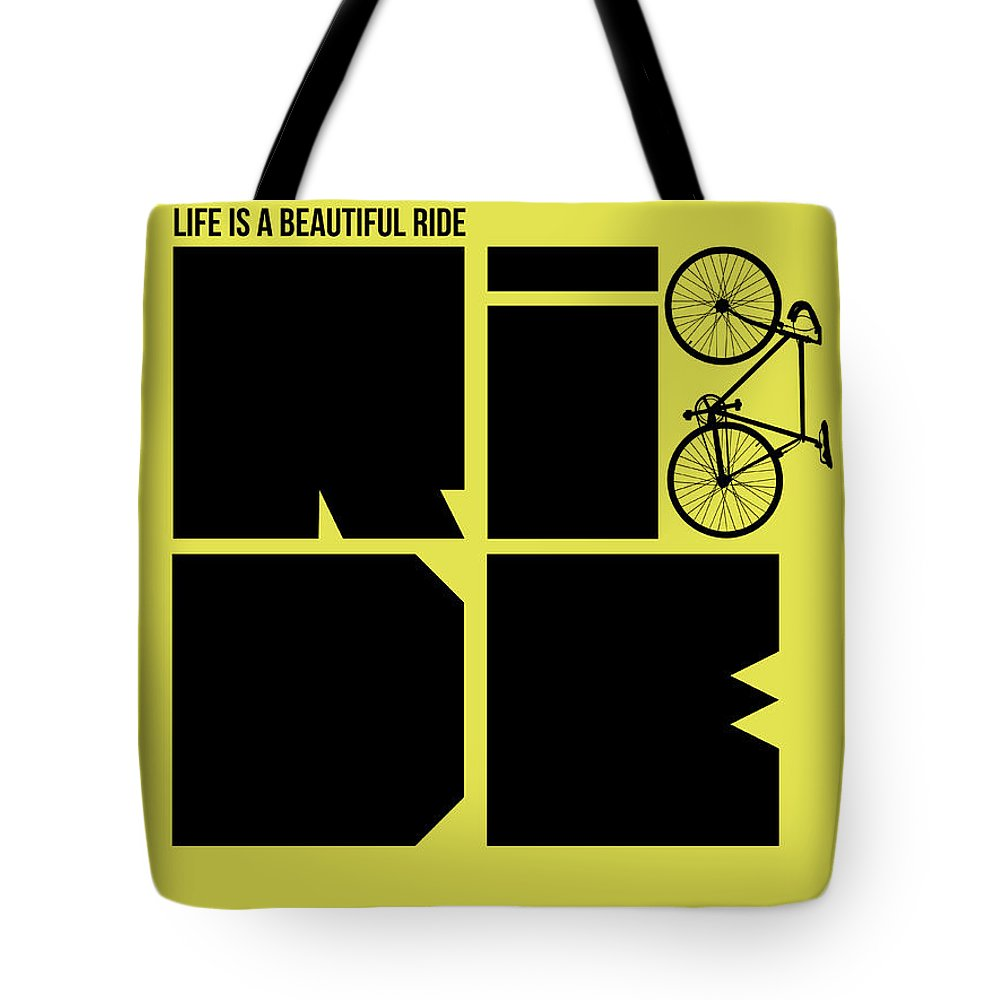 Quotes Tote Bag featuring the digital art Life Is A Ride Poster by Naxart Studio