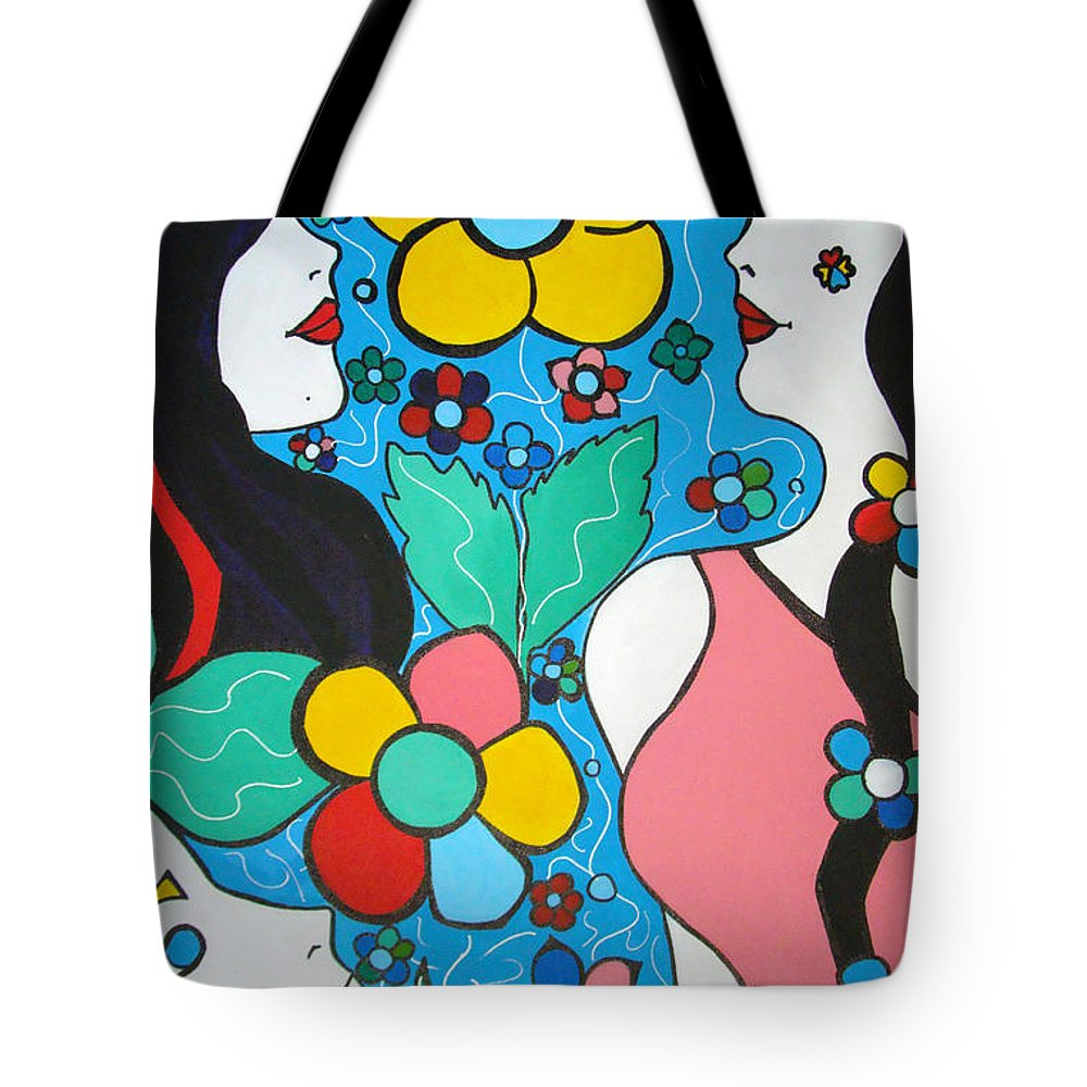 Pop-art Tote Bag featuring the painting Life Is Beautiful by Silvana Abel