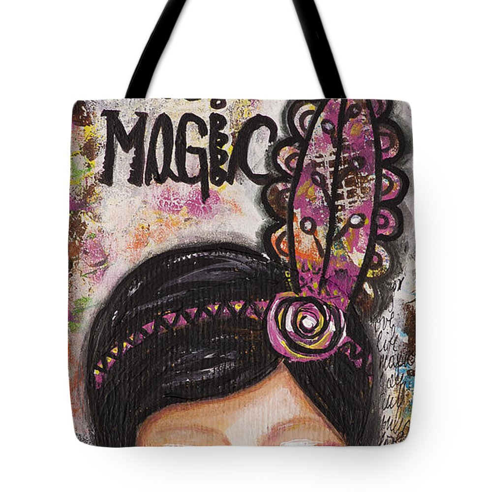 Wall Art Tote Bag featuring the mixed media Life Is Magic Uplifting Collage Painting by Stanka Vukelic