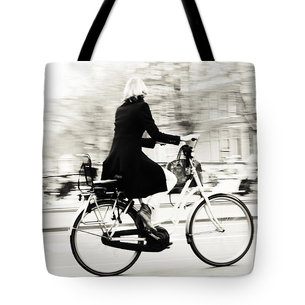 Street Photography Tote Bag featuring the photograph Life On Bike. Trash Sketches From The Amsterdam Streets by Jenny Rainbow