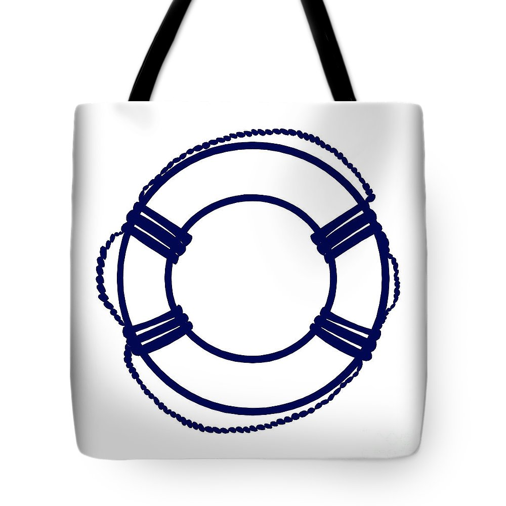 Graphic Art Tote Bag featuring the digital art Life Preserver In Navy Blue And White by Jackie Farnsworth