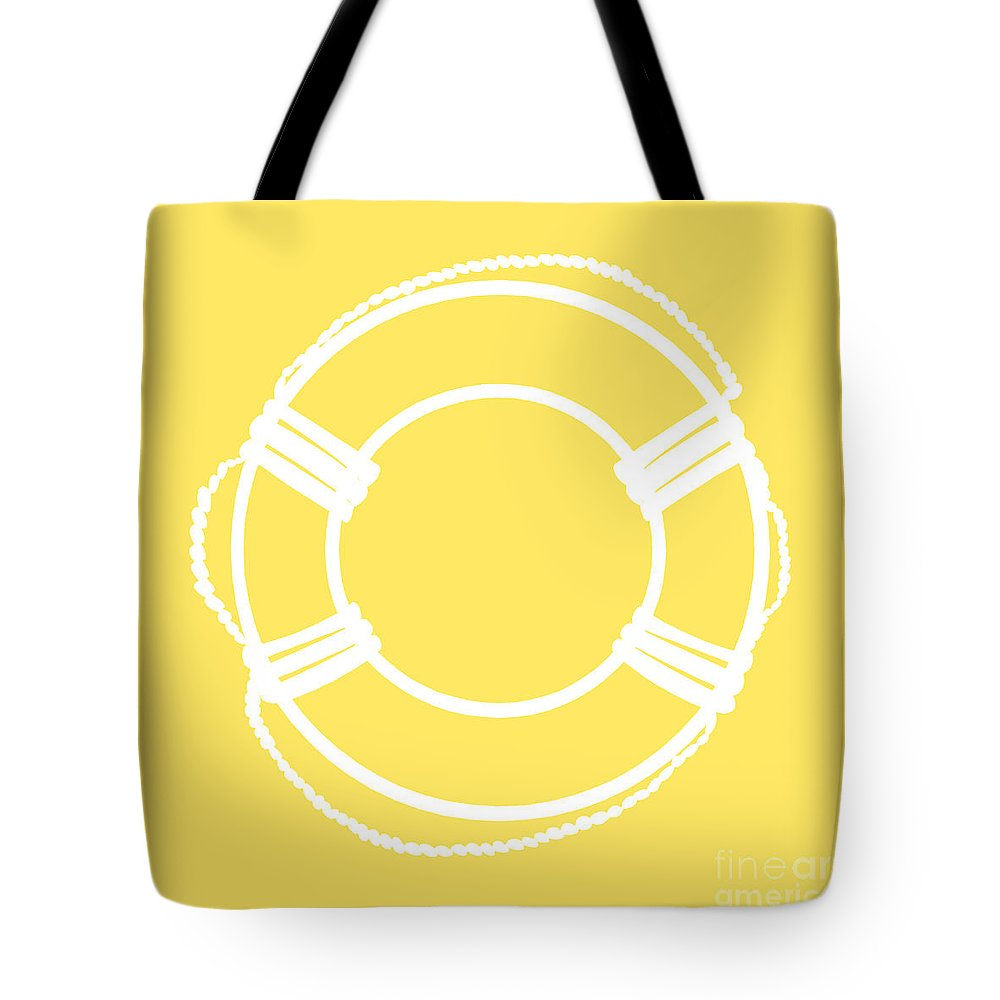 Graphic Art Tote Bag featuring the digital art Life Preserver In White And Yellow by Jackie Farnsworth