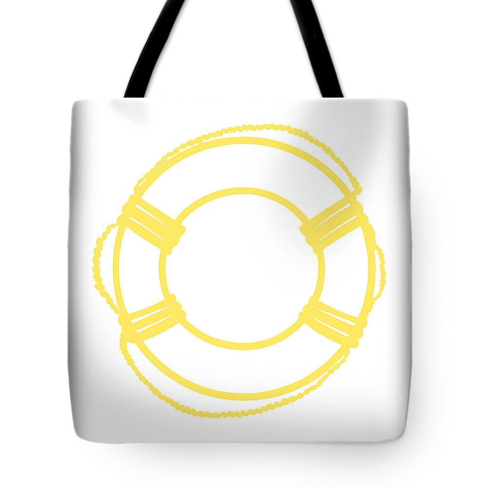 Graphic Art Tote Bag featuring the digital art Life Preserver In Yellow And Whtie by Jackie Farnsworth