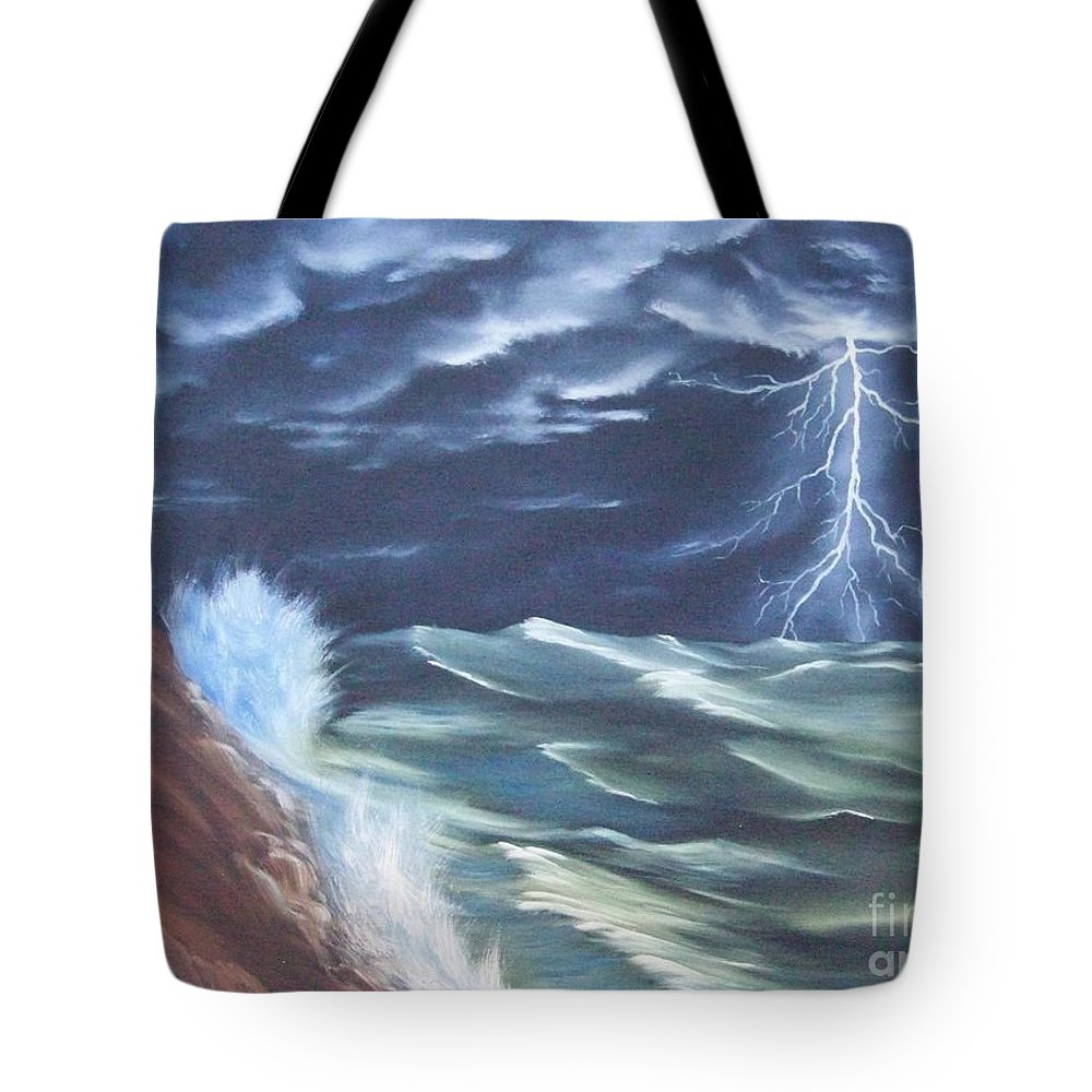 Lighthouse Tote Bag featuring the painting Life Storm by Dave Carr