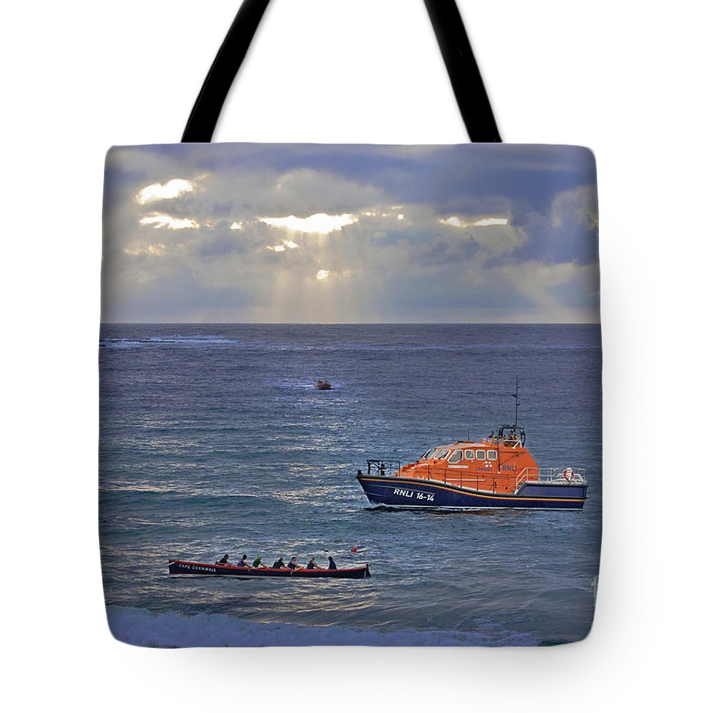 Sennen Cove Tote Bag featuring the photograph Lifeboats And A Gig by Terri Waters