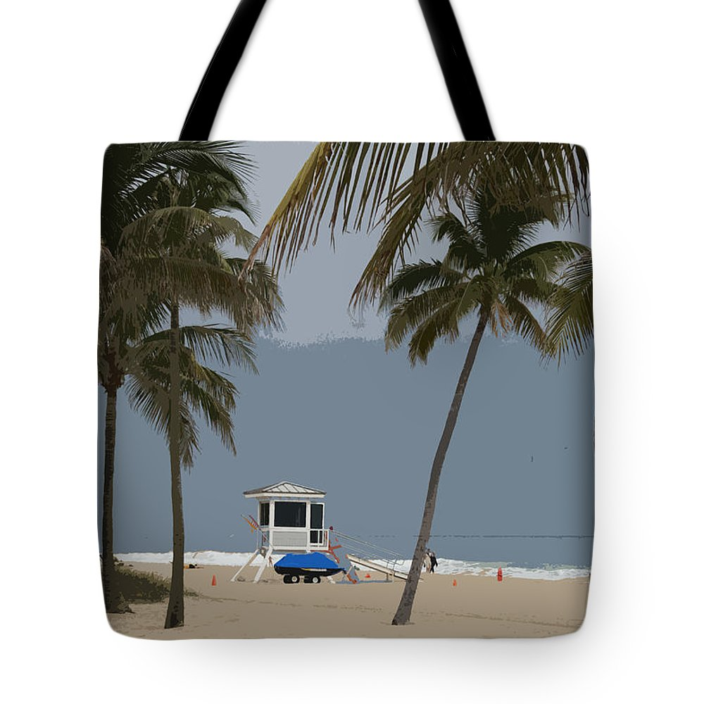 Lifeguard Tote Bag featuring the photograph Lifeguard Station Abstract by Christiane Schulze Art And Photography