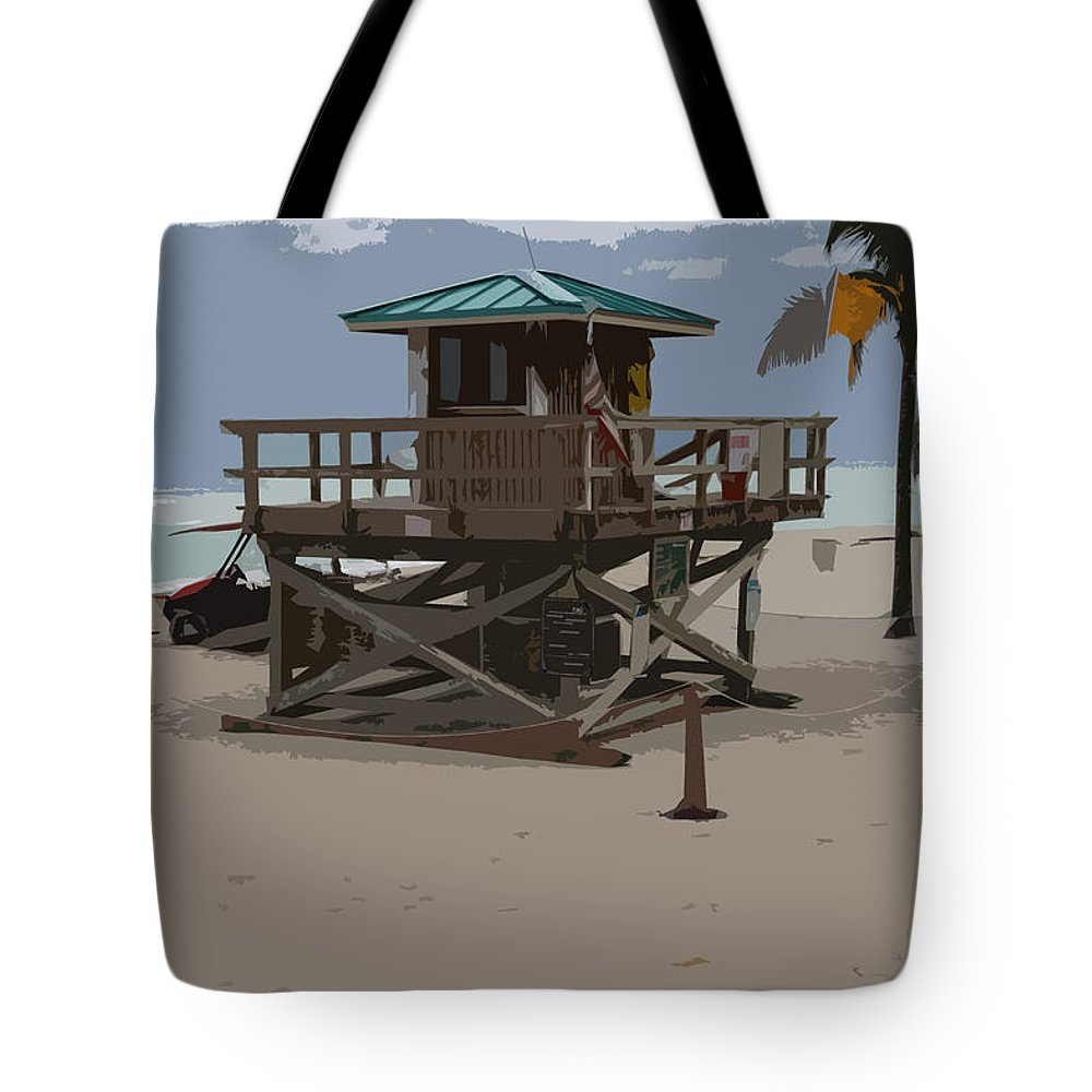 Lifeguard Station Tote Bag featuring the photograph Lifeguard Station IIi Abstract by Christiane Schulze Art And Photography