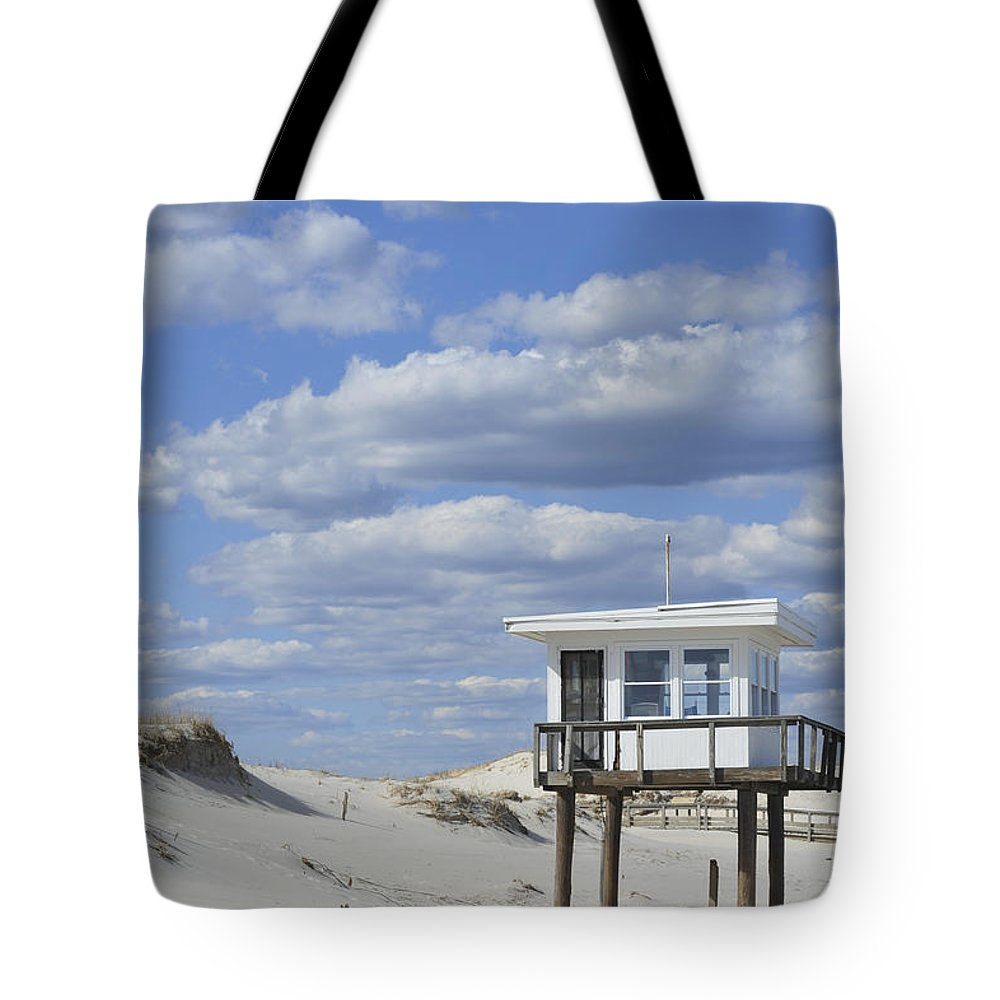 Lifeguard Station Island Beach State Park Nj Tote Bag featuring the photograph Lifeguard Station Island Beach State Park Nj by Terry DeLuco