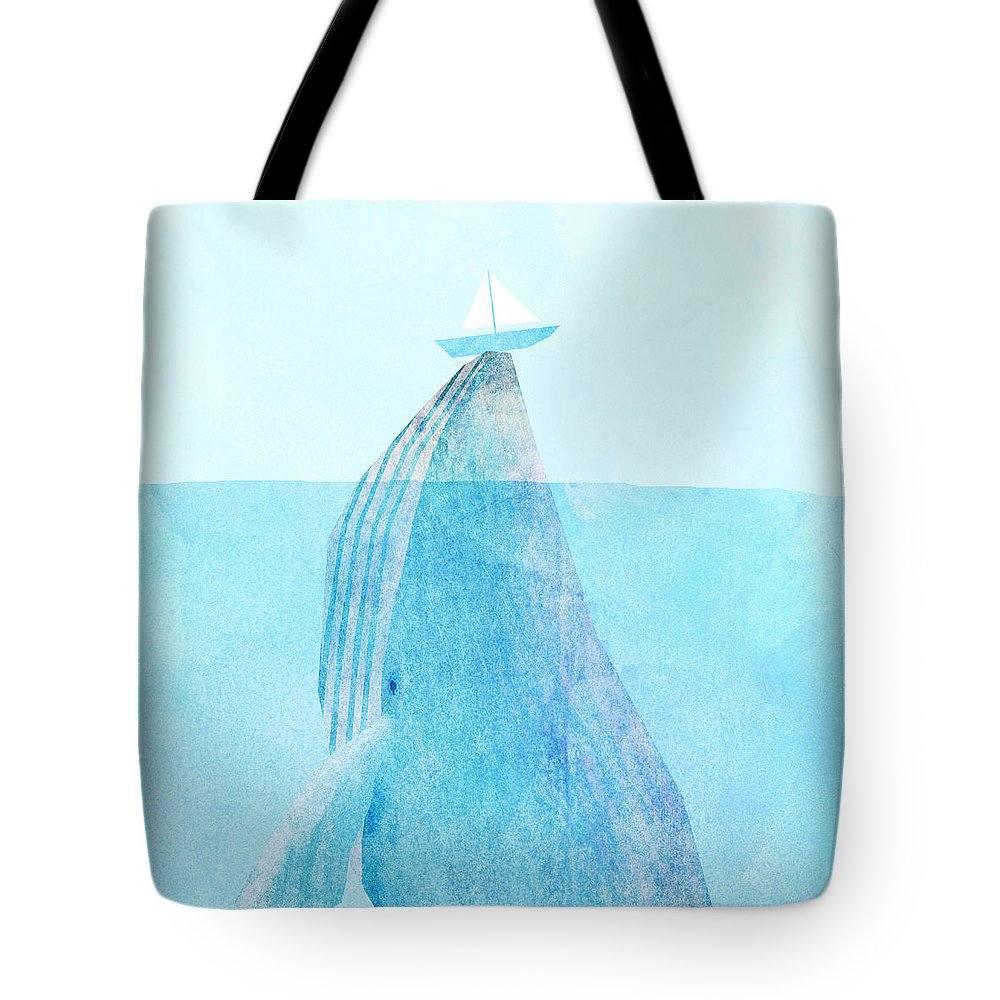 Whale Tote Bag featuring the drawing Lift by Eric Fan