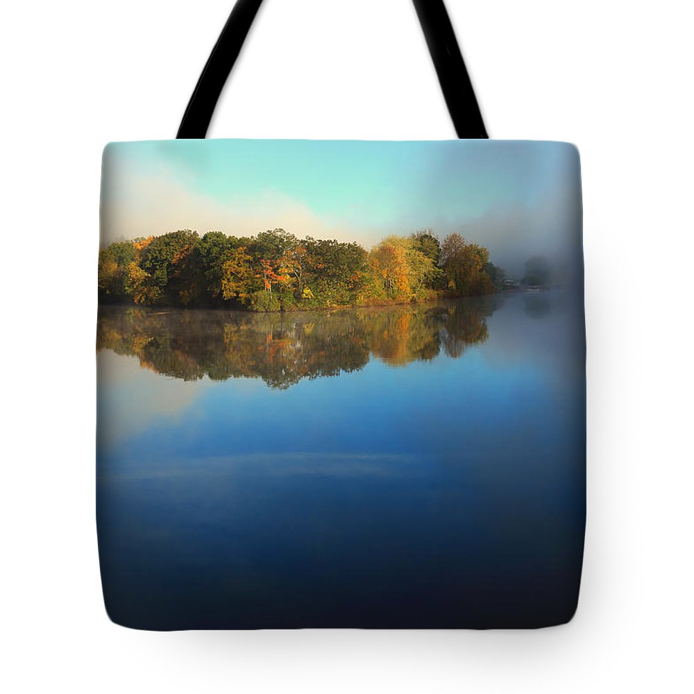 Mostly Blue Tote Bag featuring the photograph Lifting Fog by Karol Livote