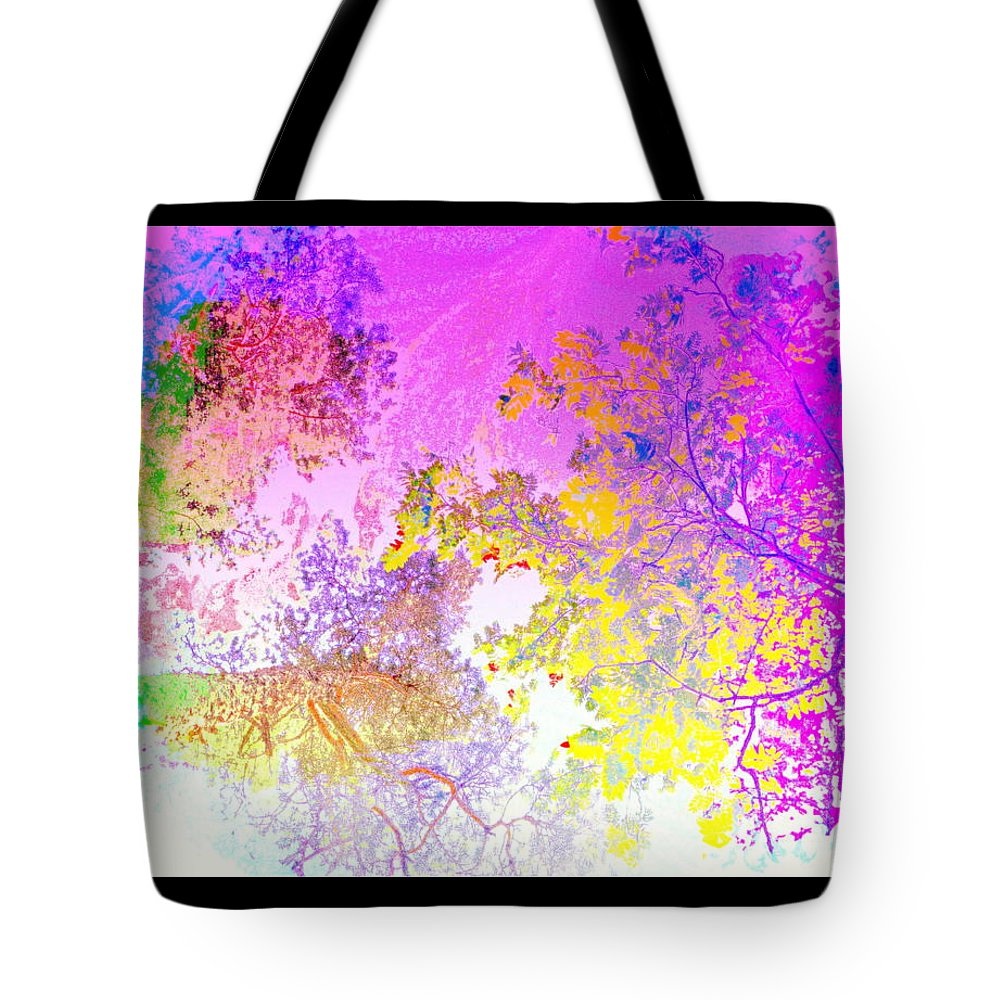 Trees Tote Bag featuring the photograph Uplifting The Trees Into The High Pink Sky  by Hilde Widerberg