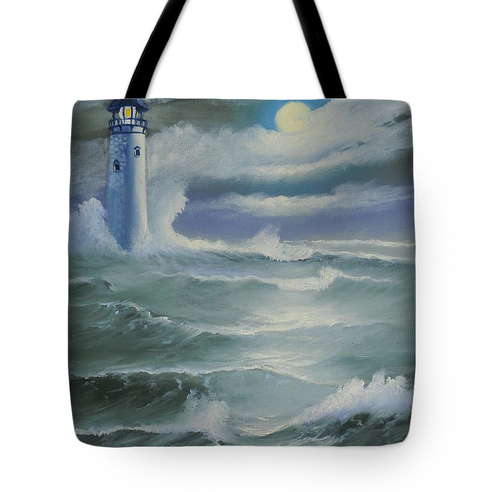 Seascape Tote Bag featuring the painting Light At Sea by Kathie Camara