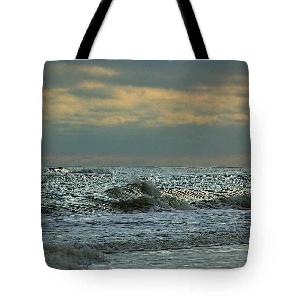 Palm Tote Bag featuring the digital art Light Blue Waves by Michael Thomas