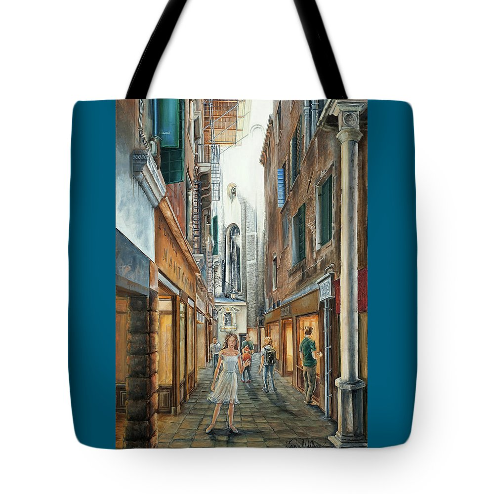 Light From San Salvador Tote Bag featuring the painting Light From San Salvador Merceria Del Capitello San Marco Venezia by Carolyn Coffey Wallace