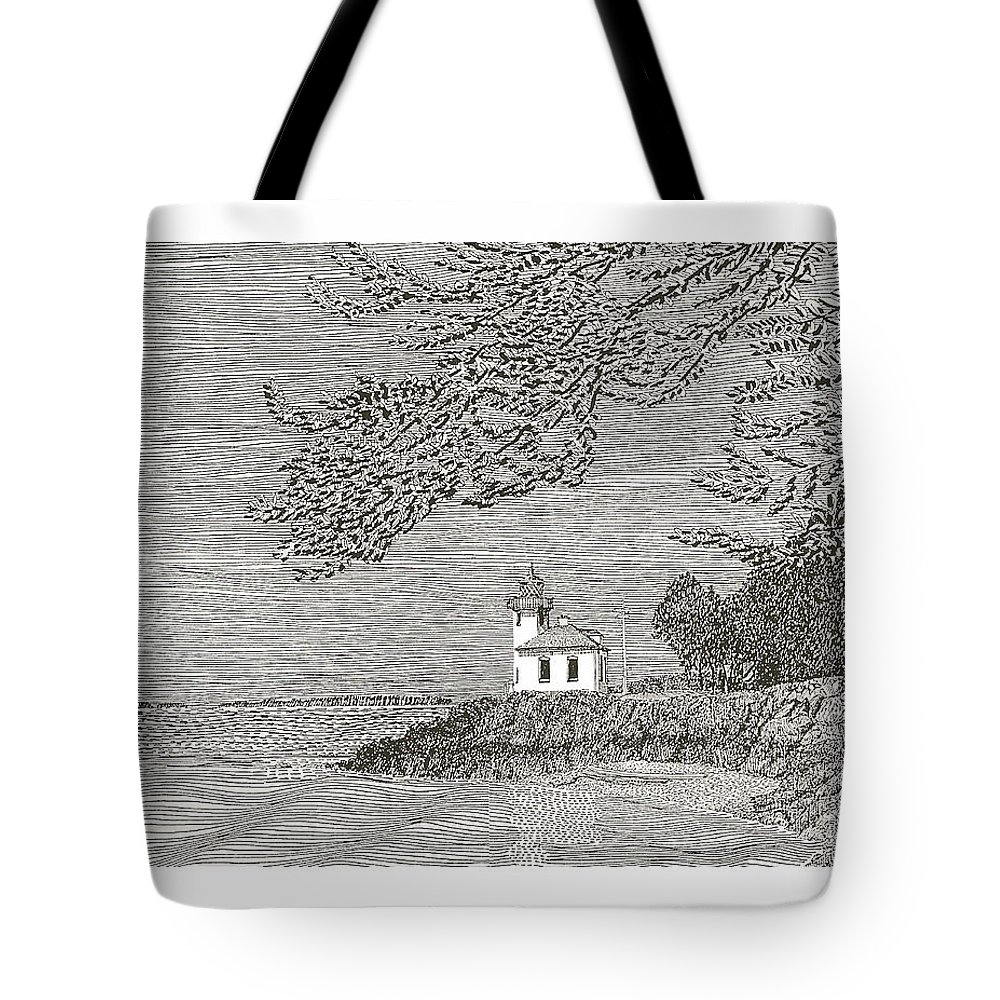 San Juan Islands Lime Point Lighthouse Tote Bag featuring the drawing Light House On San Juan Island Lime Point Lighthouse by Jack Pumphrey