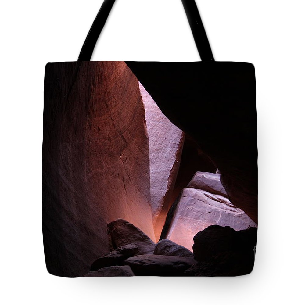 Rocks-landscape-nature-red Rocks-light Tote Bag featuring the photograph Light by Marlous Bleazard