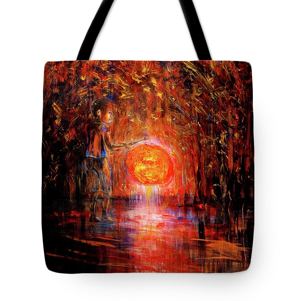 Lantern Tote Bag featuring the painting Light by Nik Helbig