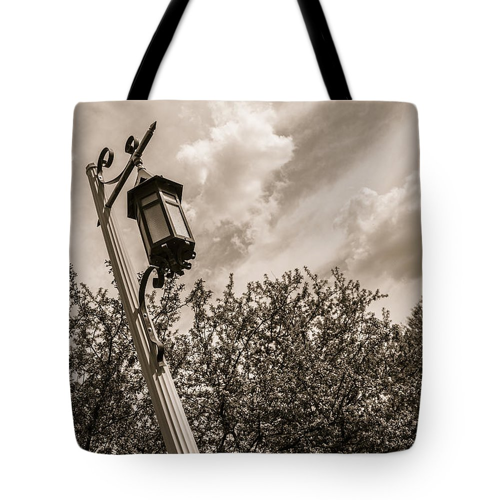 Michigan State Tote Bag featuring the photograph Light Post On Michigan State University by John McGraw