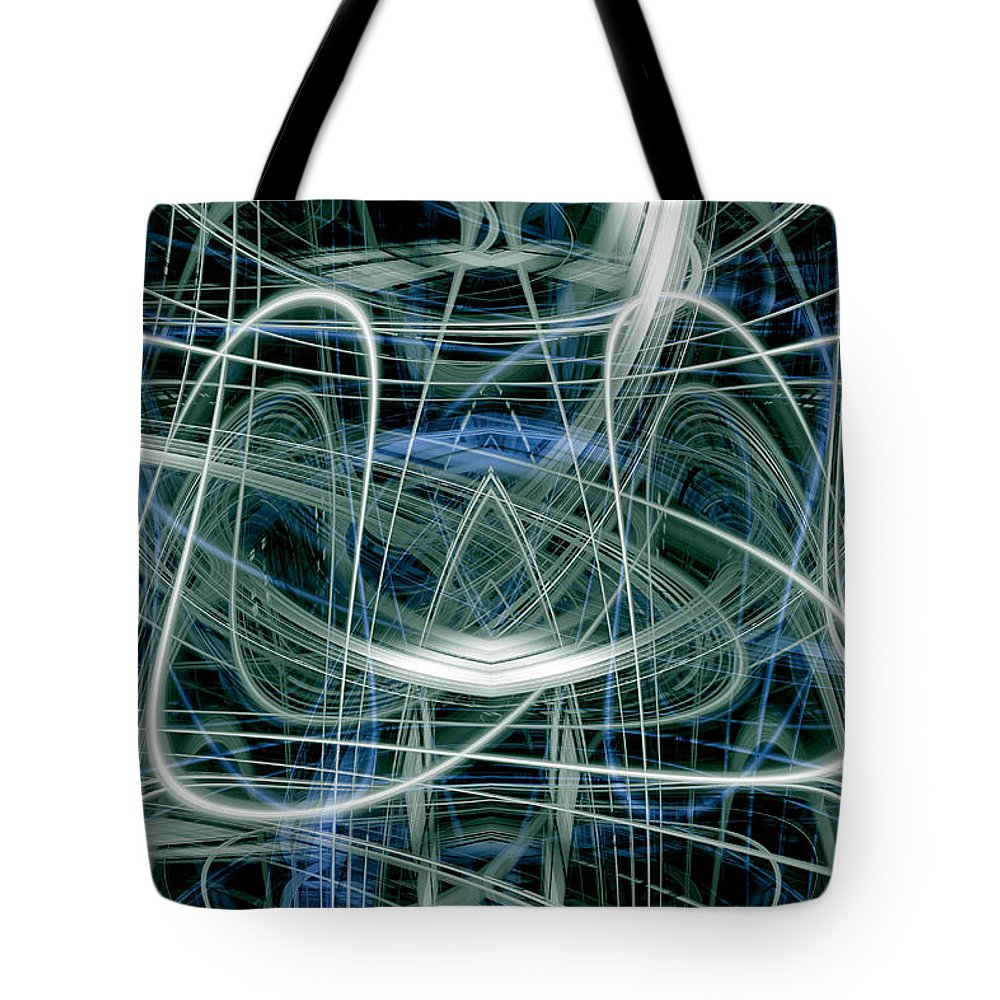 Abstract Tote Bag featuring the digital art Light Trails 7 by Steve Ball